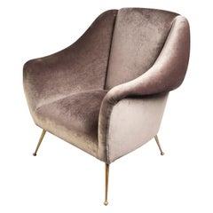Over-Upholstered Velvet Armchair, Italy, 1950s