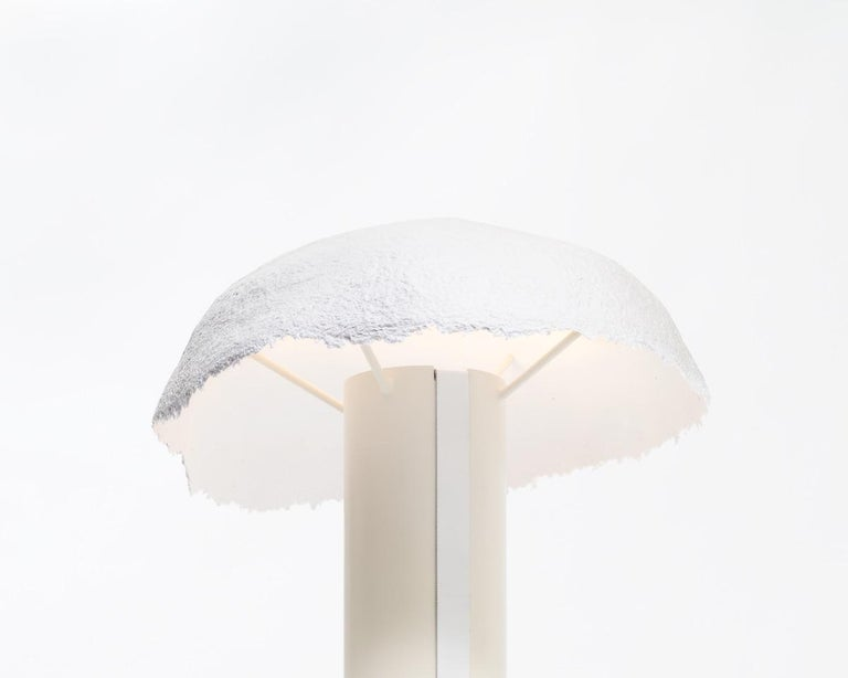 Canadian Overcast Dimmable Table Lamp, Calen Knauf, Off White, Handmade Pulp Paper Mache For Sale