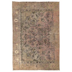Overdye Contemporary Persian Rug with Black & Pink Botanical Details