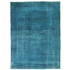 Overdye Persian Rug with Faded Blue and Black Botanical Details