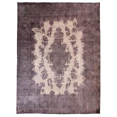 Overdye Persian Rug with Faded Purple and Ivory Botanical Details