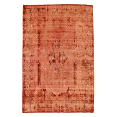 Overdye Persian Rug with Faded Red and Black Floral Details