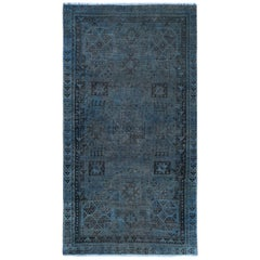 Overdyed Blue Old Persian Shiraz Small Animal Figurines Hand Knotted Wool Rug