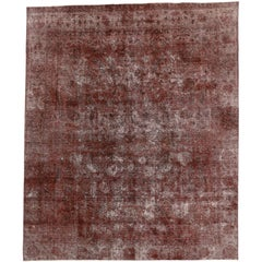 Distressed Vintage Turkish Overdyed Rug with Rustic Spanish Renaissance Style