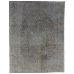 Overdyed Distressed Vintage Turkish Rug with Modern Style