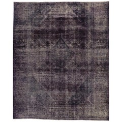 Distressed Vintage Turkish Overdyed Rug with Modern Industrial Regency Style
