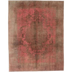 Distressed Vintage Turkish Overdyed Rug with Industrial Retro Post-Modern Style