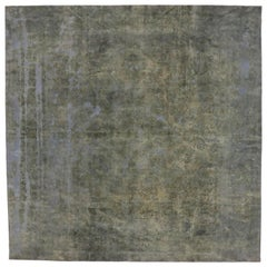 Overdyed Distressed Vintage Turkish Square Rug with Modern Industrial Style