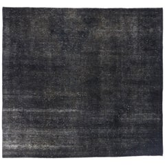 Distressed Vintage Turkish Overdyed Rug with Modern Industrial Style, Square Rug