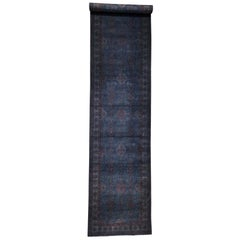 Overdyed Kazak Wide Runner Pure Wool Hand Knotted Oriental Rug