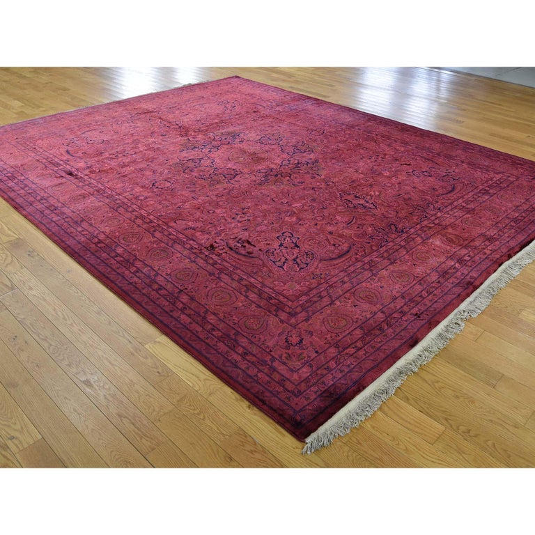 Afghan Overdyed Pak Persian 300 Kpsi Hand Knotted Full Pile Oriental Rug For Sale