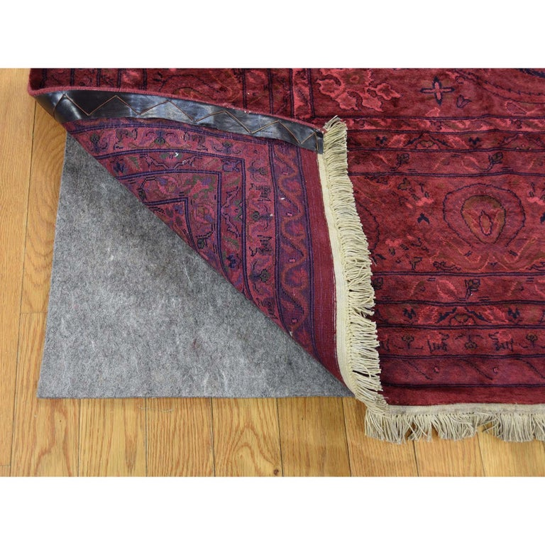 Hand-Knotted Overdyed Pak Persian 300 Kpsi Hand Knotted Full Pile Oriental Rug For Sale