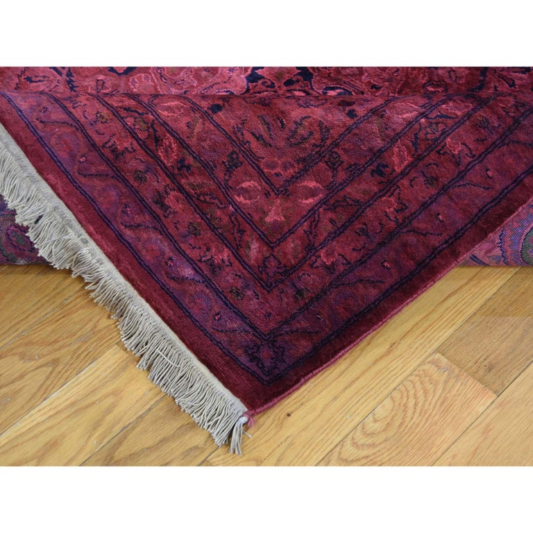 Contemporary Overdyed Pak Persian 300 Kpsi Hand Knotted Full Pile Oriental Rug For Sale