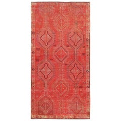 Overdyed Persian Shiraz Wide Runner Worn Wool Clean Hand Knotted Rug