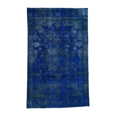 Overdyed Persian Tabriz Hand Knotted Worn Down Oriental Rug