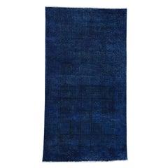 Overdyed Persian Tabriz Vintage Handmade Wide Runner Rug