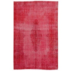 Overdyed Red Turkish Vintage Rug with Industrial Look