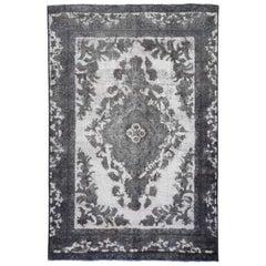 """Overdyed Silver Persian Tabriz Barjasta Hand Knotted Vintage Rug, 6'1"""" x 9'2"""""""