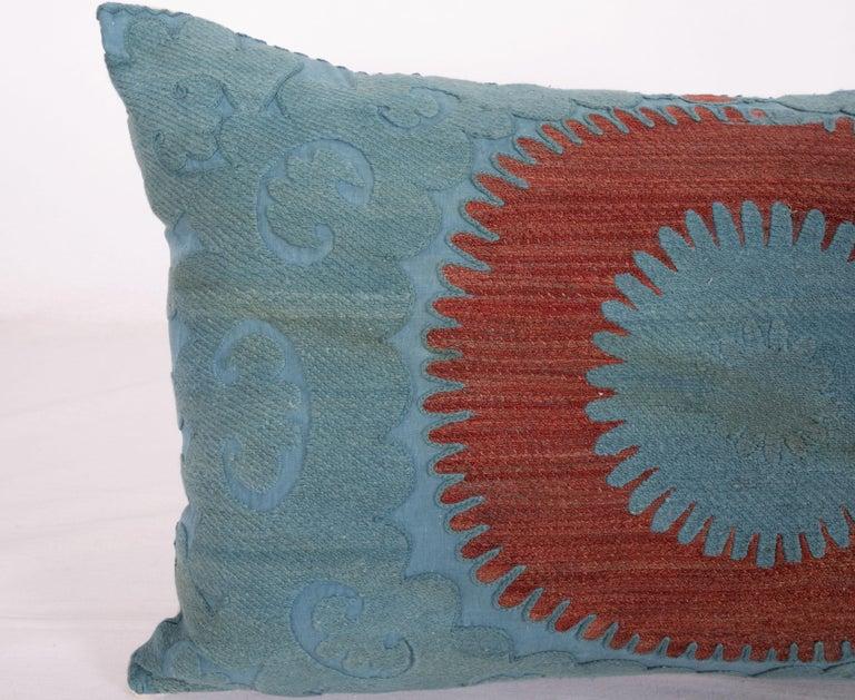 Uzbek Overdyed Vintage Suzani Pillow Case, Mid-20th Century