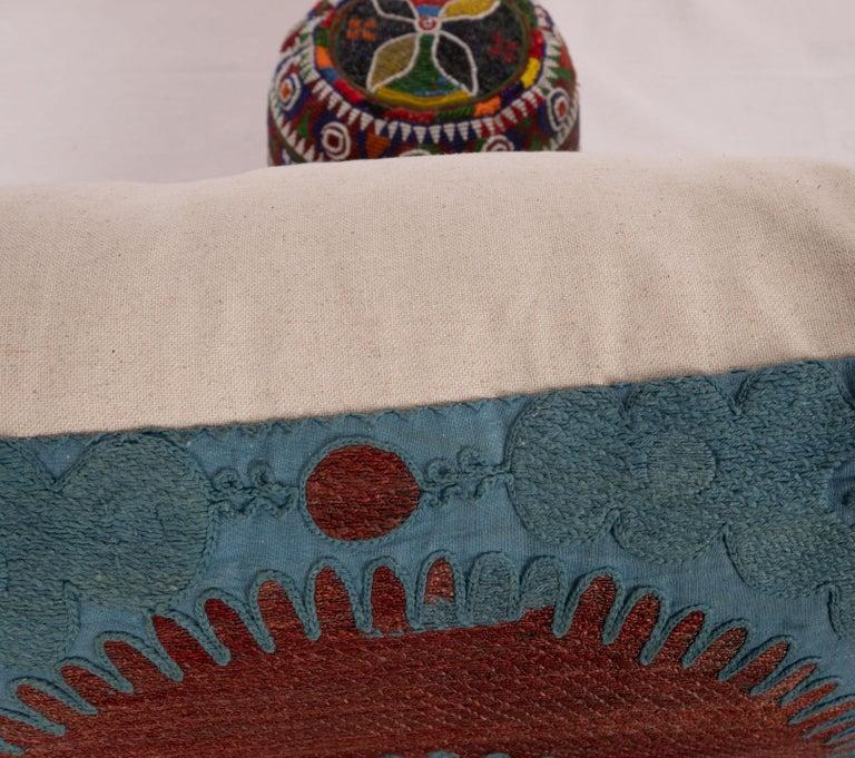 Cotton Overdyed Vintage Suzani Pillow Case, Mid-20th Century