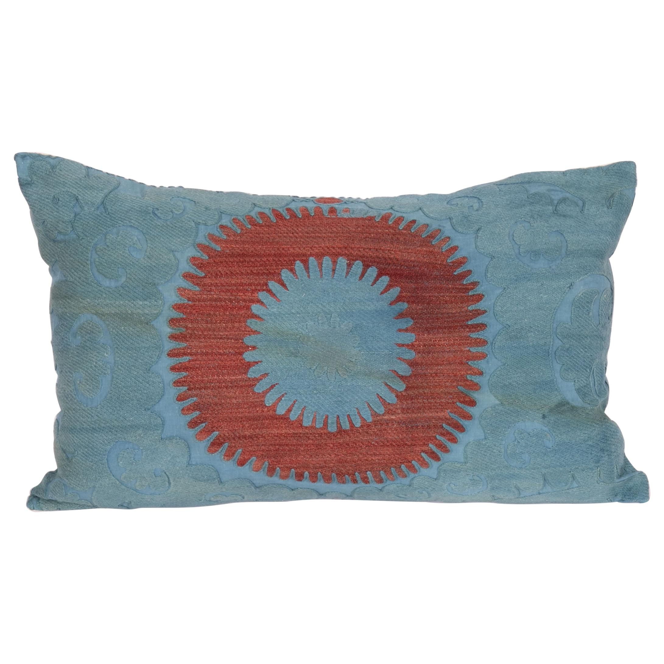 Overdyed Vintage Suzani Pillow Case, Mid-20th Century