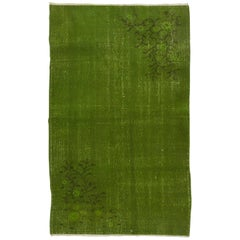 Overdyed Vintage Turkish Rug, Green Color Handmade Carpet