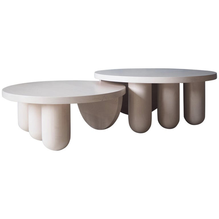 Overlapping Tricolumn Coffee Table by MSJ Furniture Studio For Sale