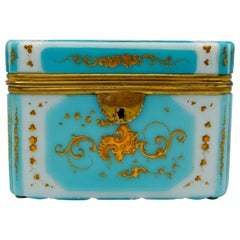 Overlay Box, Gold Enameled Opaline