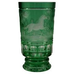 Overlay Glass Green Goblet, Engraved Horse, Bohemian Glass 20th Century