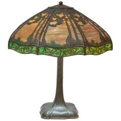 Overlay Scenic Handel Panel Lamp, Original, Signed, circa 1910