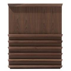 Overlooking Large Cabinet, Walnut Wood, Overlooking Handles, Lorenzo Damiani