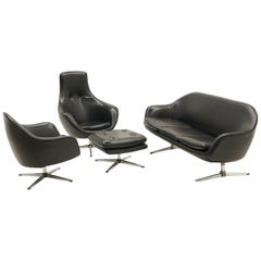 Overman Living Room Set, Loveseat, Pair of Chairs and Ottoman, Black Vinyl