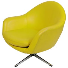 Overman Mid-Century Modern Chrome Swivel Pod Chair in Yellow