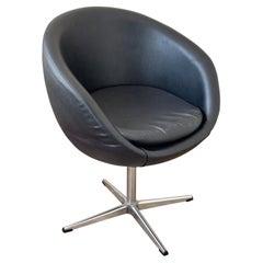 Overman Pod Mid Century Black Swivel Lounge Chair Space Age