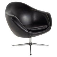 Overman Pod Midcentury Black Swivel Lounge Chair