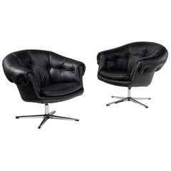 Overman Style Mod Pod Lounge Chair Set in Black Tufted Vinyl, Four Star Bases