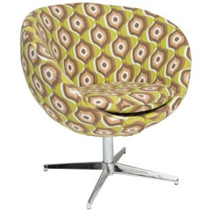 Overman Style Pod Swivel Chair with Nickel Base