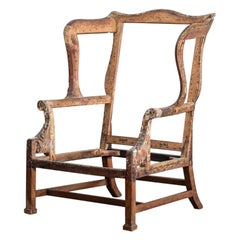 Overscale George II Mahogany Wingback Chair