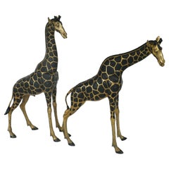 Overscale Hollywood Regency Brass Giraffe Sculptures, Pair