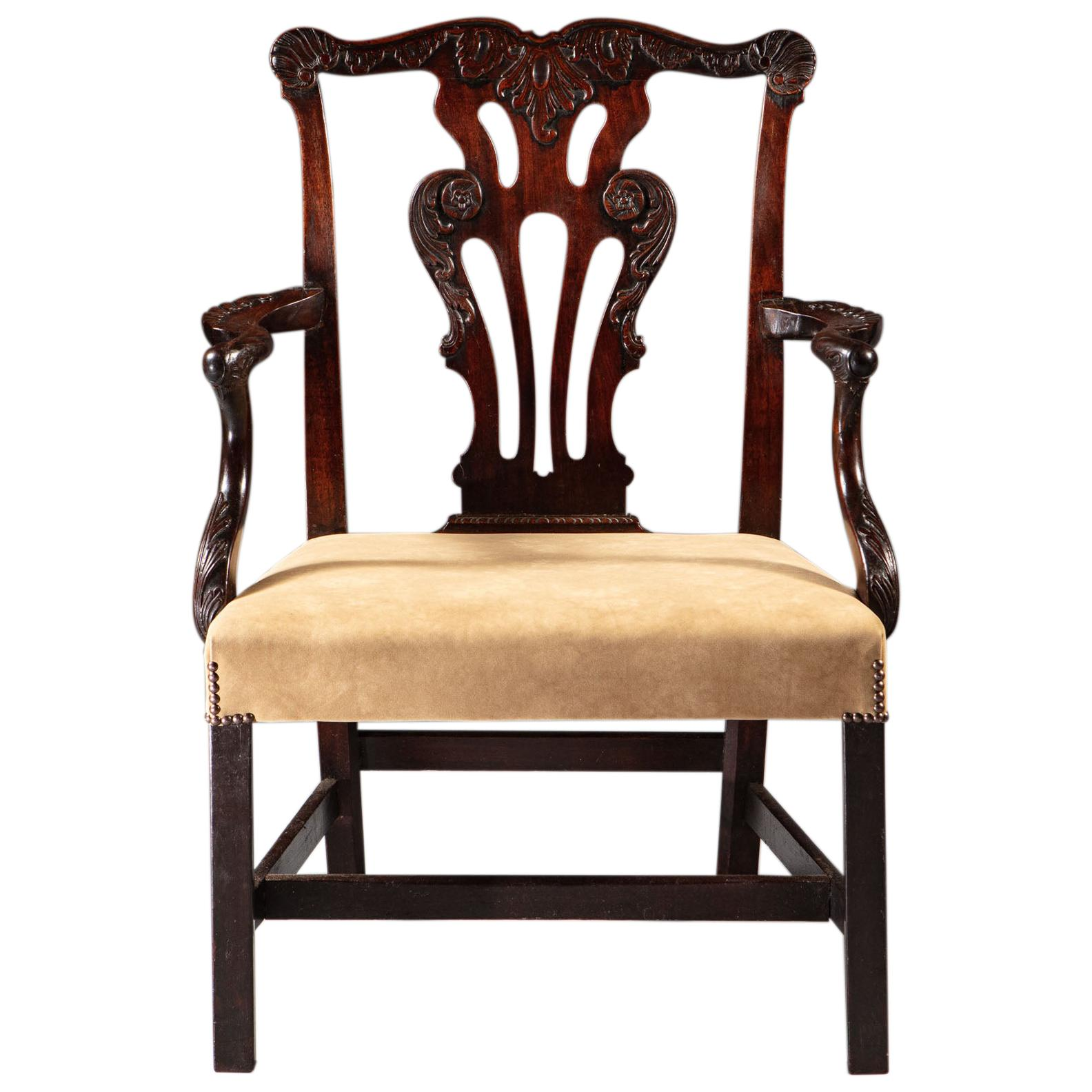 Overscale Mid 18th Century Irish Brown Carved Mahogany Wood Armchair Suede Seat For Sale At 1stdibs