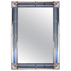Overscale Midcentury Italian Pier Mirror with Blue Glass Border