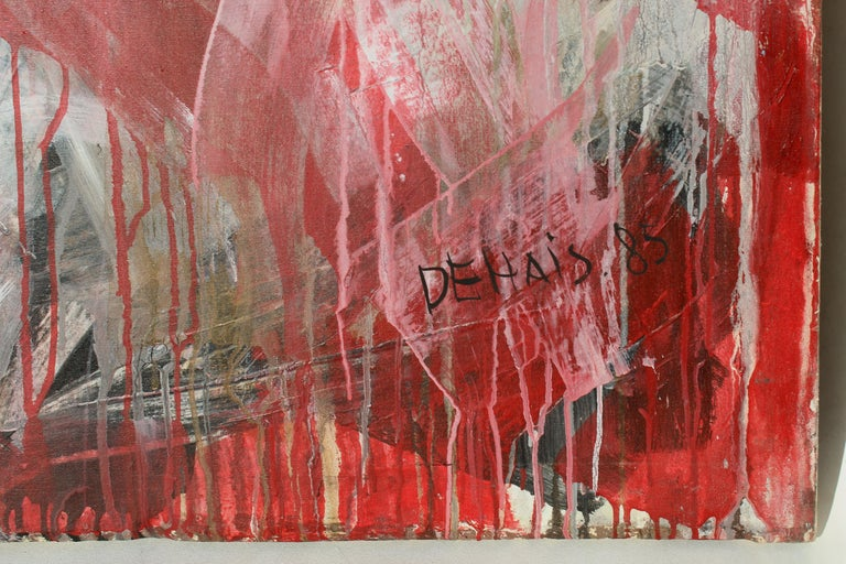 Hand-Painted Monumental Abstract Oil Painting on Canvas by Dehais,  1985 For Sale