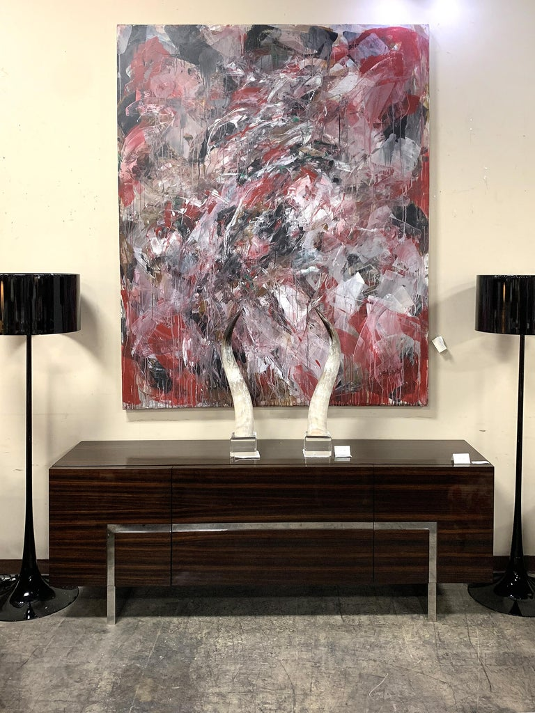 Monumental Abstract Oil Painting on Canvas by Dehais,  1985  Offered is an over-scale abstract oil on canvas signed Dehais lower right and dated 1985. This large, colorful painting is abstract expressionist in style, has a great deal of movement