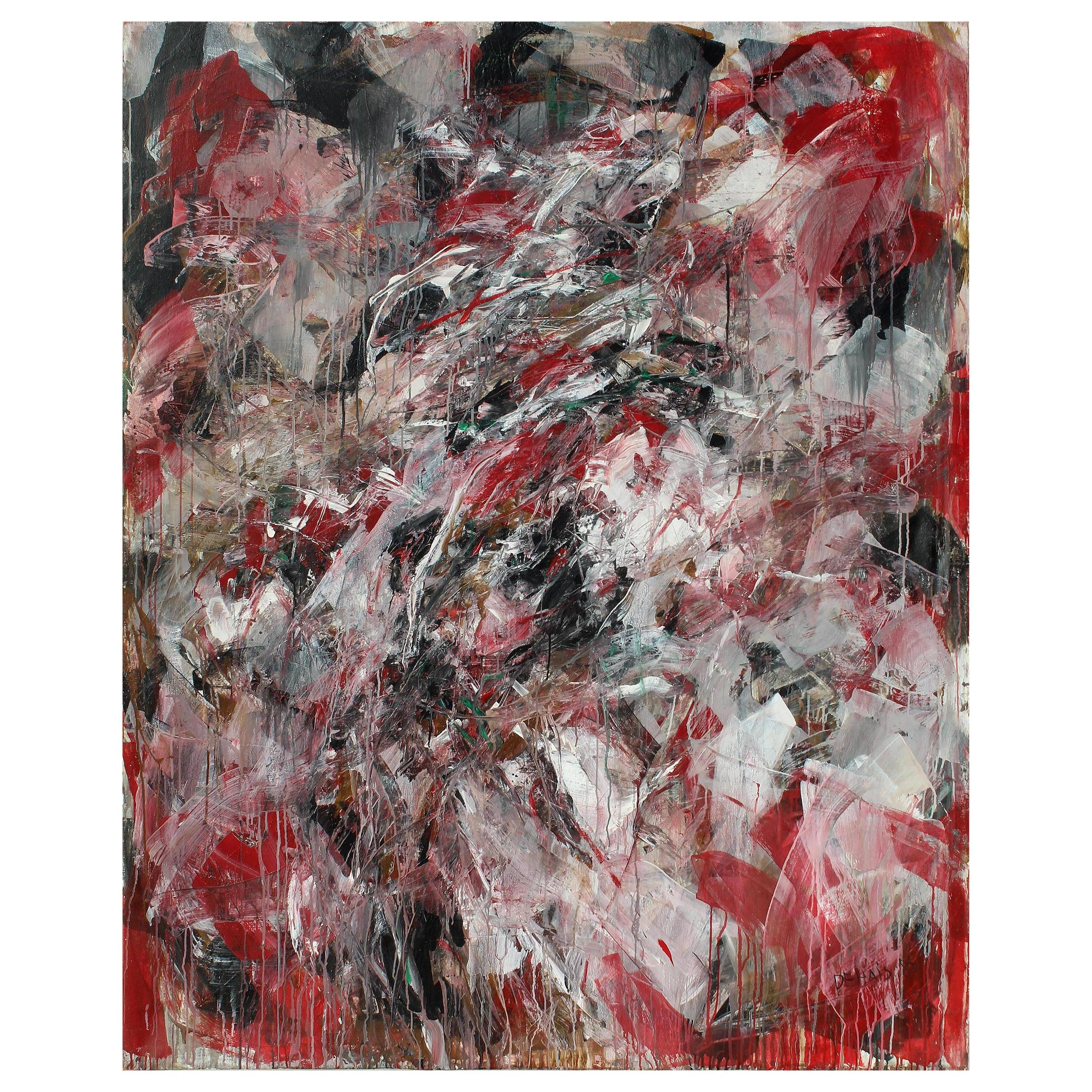 Monumental Abstract Oil Painting on Canvas by Dehais,  1985
