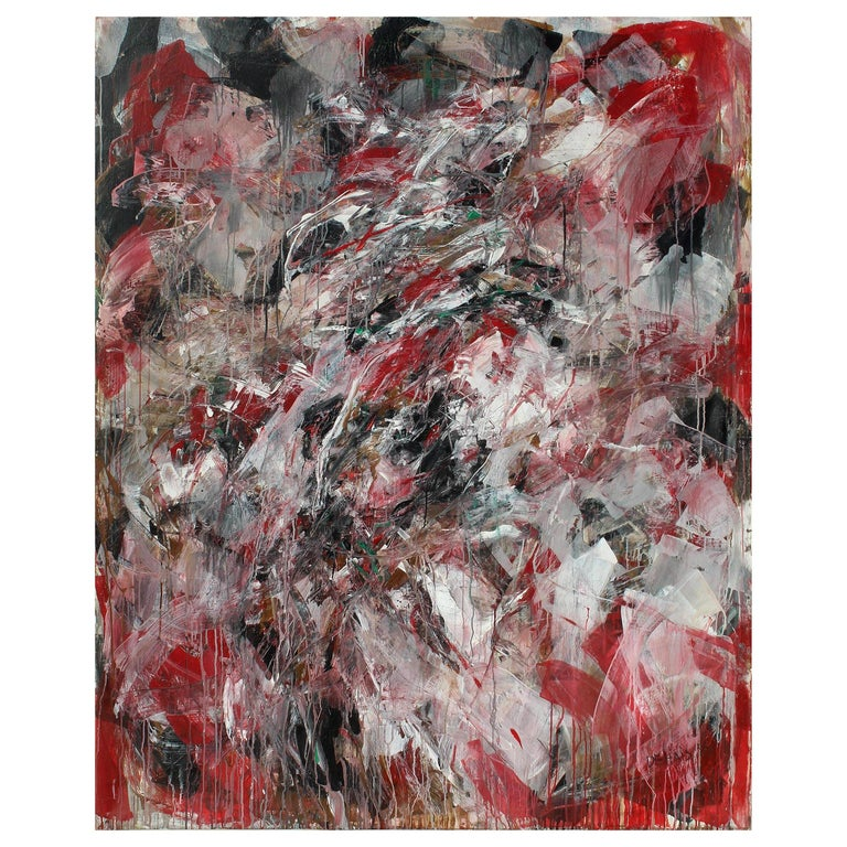 Monumental Abstract Oil Painting on Canvas by Dehais,  1985 For Sale