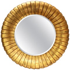 Overscale Sculptural Contemporary Gold-Gilt Mirror with a Beveled Edge