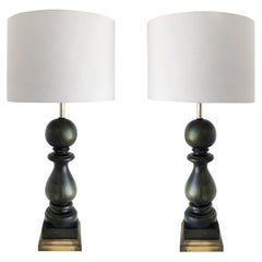 Overscale Vintage Carved Wood Balustrade Table Lamps