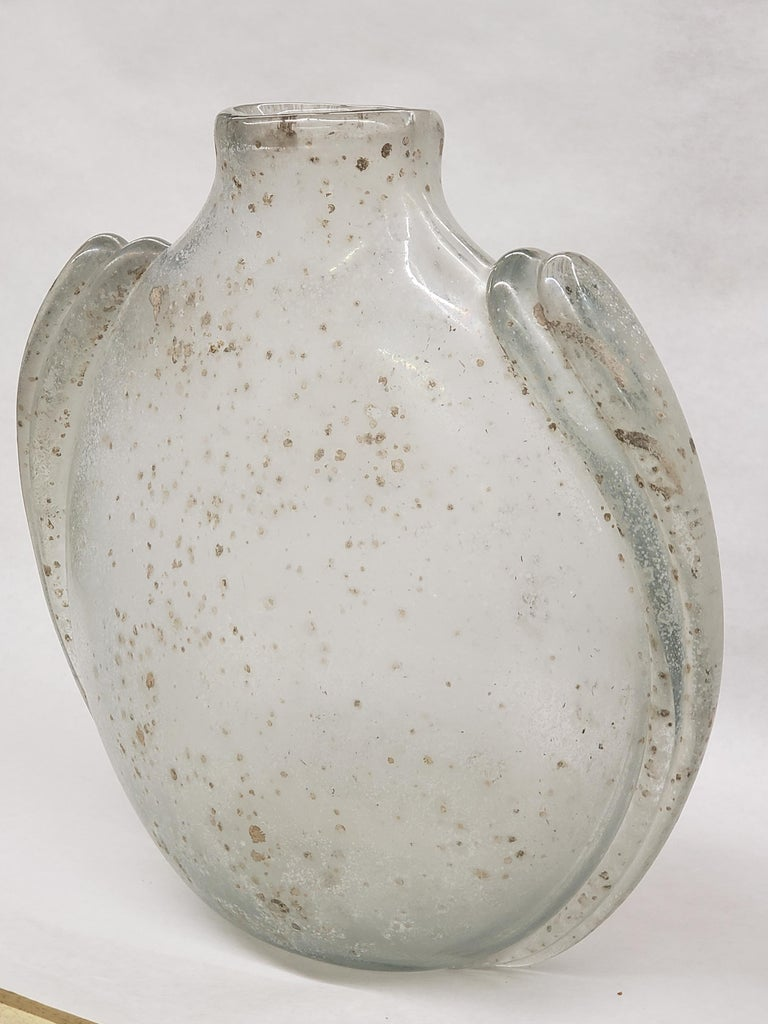 Art Deco Overscaled Scavo Vase by Barbini For Sale