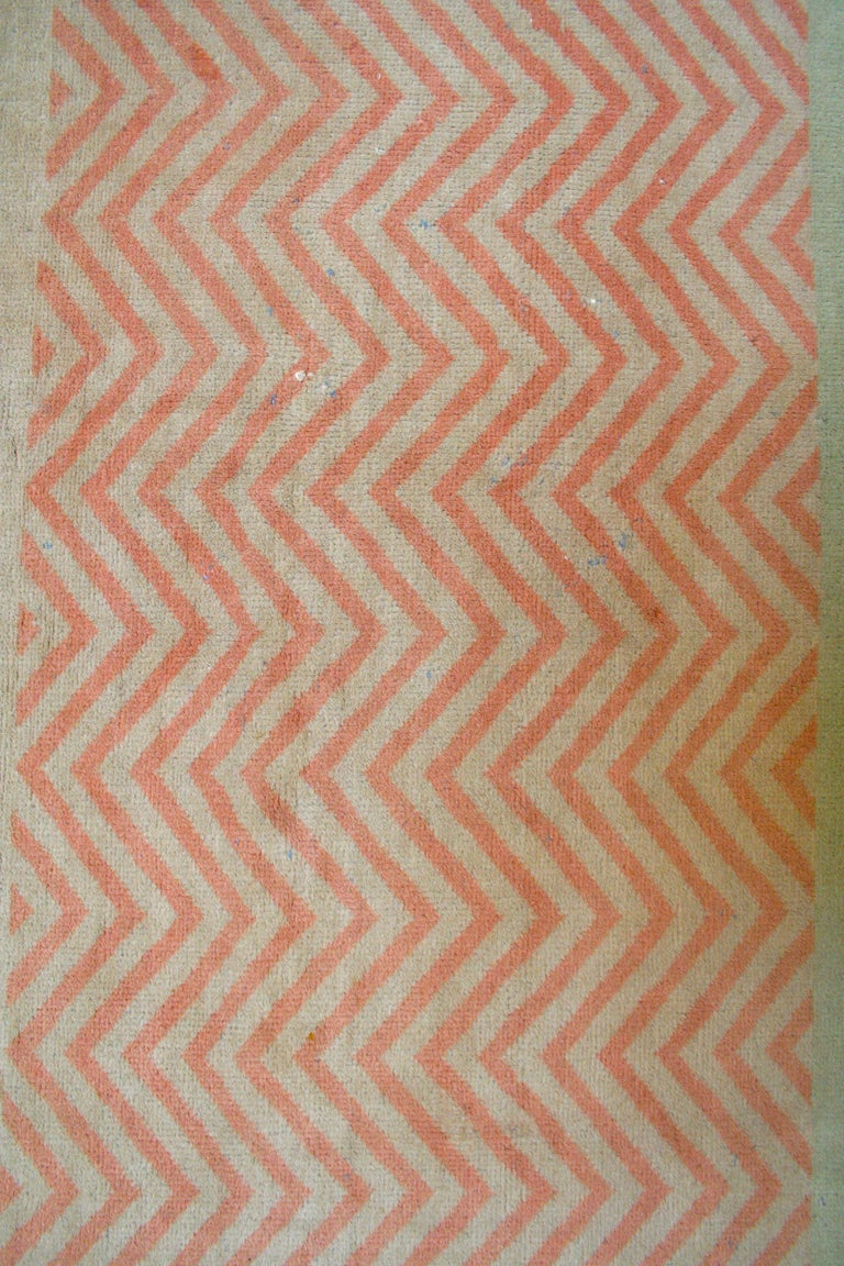 Indian Oversize Antique Art Deco Geometric Rug in the Da Silva Bruhns Style, 1920's For Sale