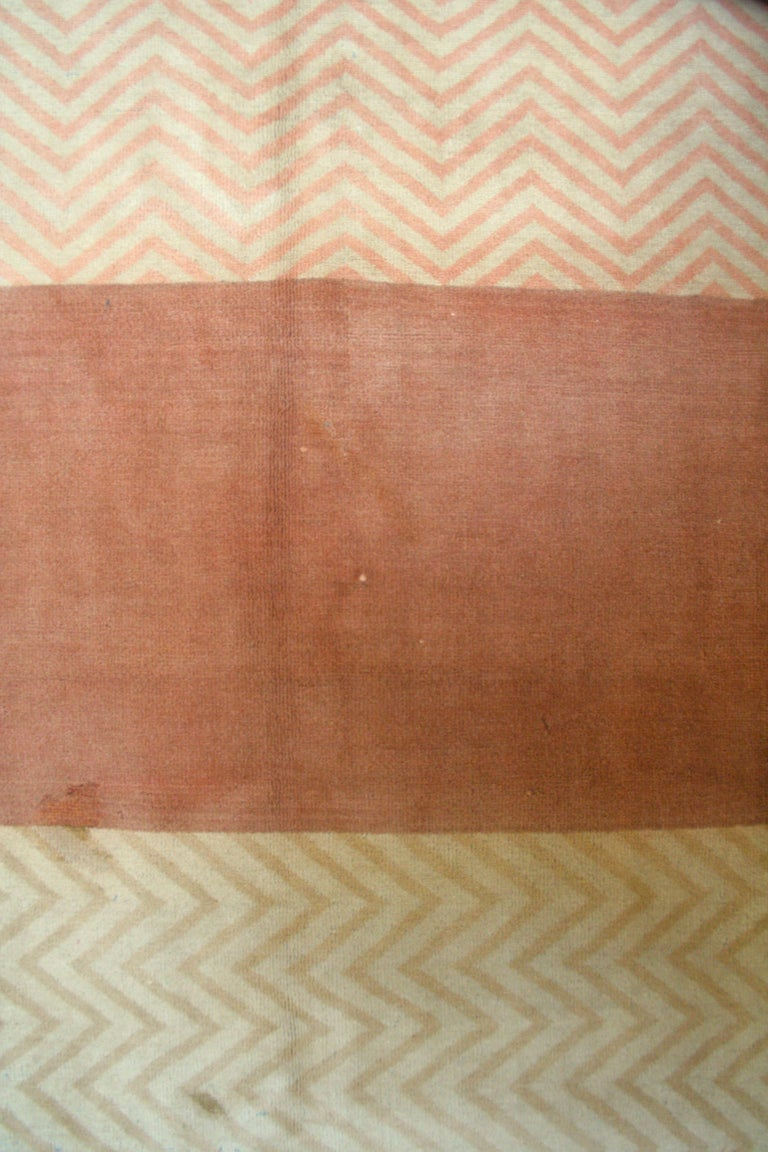Hand-Knotted Oversize Antique Art Deco Geometric Rug in the Da Silva Bruhns Style, 1920's For Sale